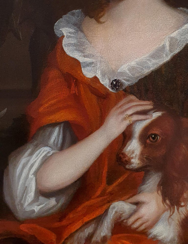 Portrait of a Young Girl with a Spaniel, circa 1695 - Black Portrait Painting by (attributed to) Johannes Verelst