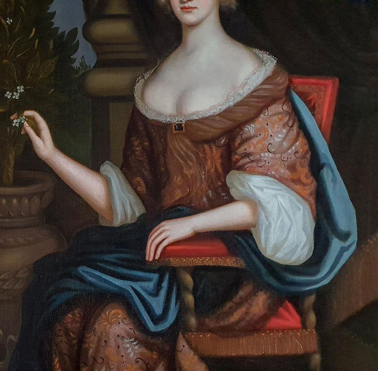 Portrait of a Lady, Large Scale, Fine Carved Period Frame - Painting by Circle of Henri Gascars