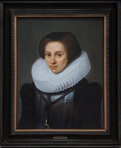 Portrait of a Lady with Cartwheel Ruff, Dutch Golden Age, Antique Oil Painting