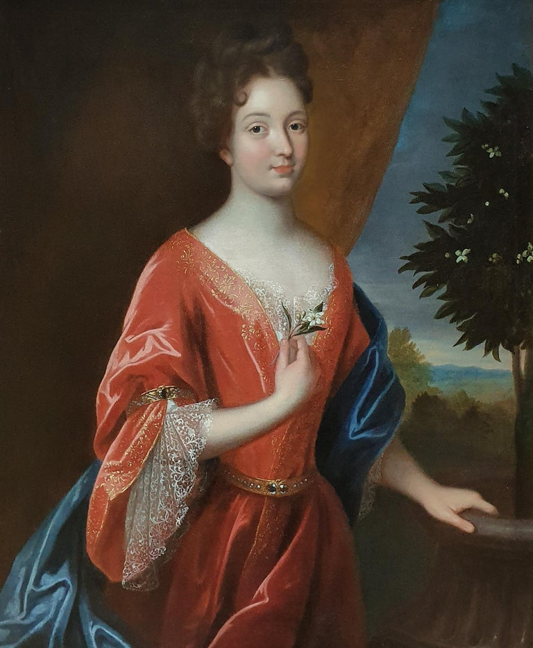 Large Portrait of a Lady Holding an Orange Blossom - Painting by (Circle of) Jean-Baptiste Santerre