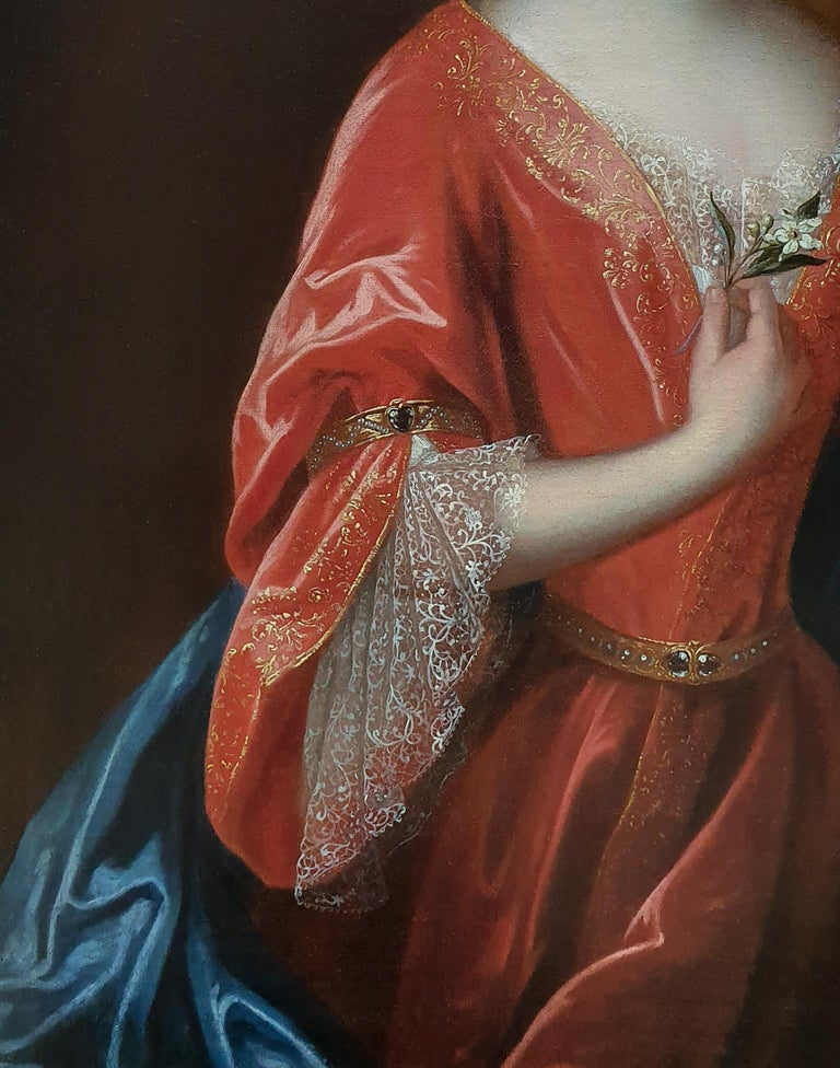 Large Portrait of a Lady Holding an Orange Blossom - Old Masters Painting by (Circle of) Jean-Baptiste Santerre