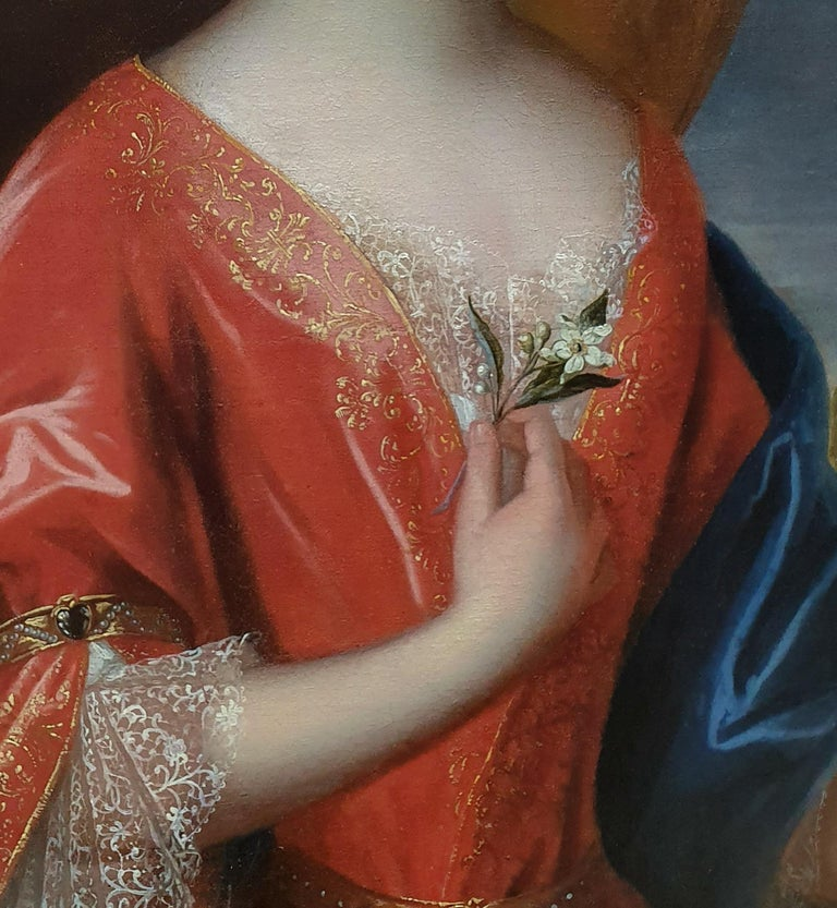 Large Portrait of a Lady Holding an Orange Blossom - Black Portrait Painting by (Circle of) Jean-Baptiste Santerre