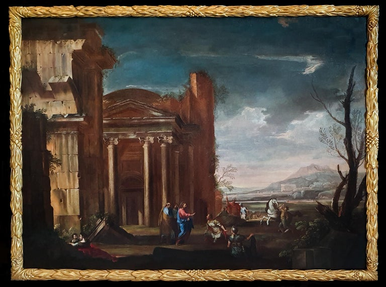 Circle of Viviano Codazzi Figurative Painting - An Architectural Capriccio with Christ and the Centurion, 17th Century