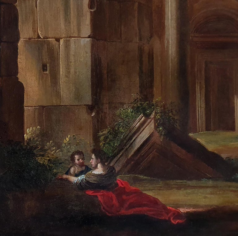 This exquisite large-scale work represents a type of painting that was popular in Rome during the last half of the seventeenth century.  This highly atmospheric painting features the account of Christ and the centurion.  The combination of the