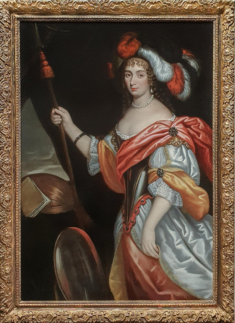 (Circle of) Johannes Mytens Portrait Painting - Portrait of a Lady, as the Goddess Minerva