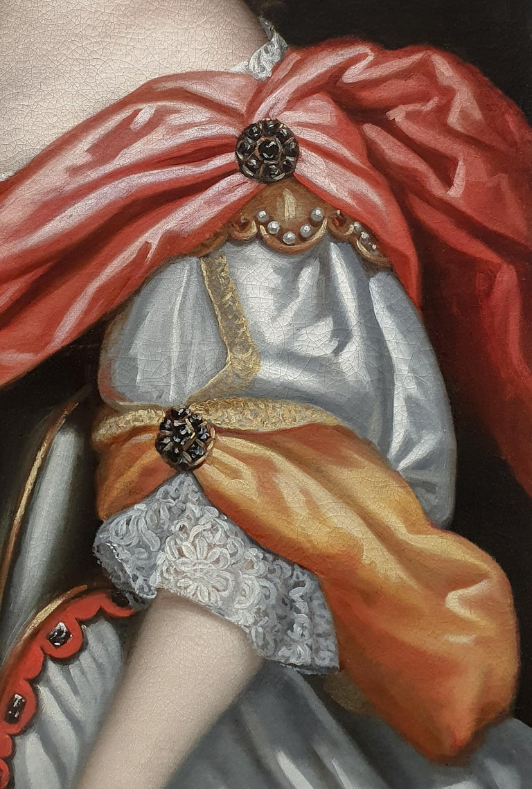 Titan Fine Art are pleased to present this magnificent grand scale portrait is a fine example of the Baroque portrait style in the 1660's when in Europe it was fashionable for aristocratic women to be immortalised in the guise of mythological