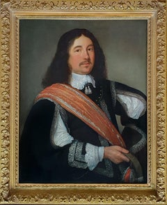 Portrait of a Gentleman with Black Slashed Doublet and Orange Sash, oil on panel
