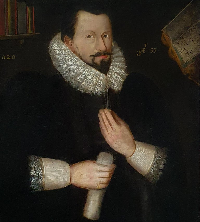 (Follower of) Marcus Gheeraerts Portrait Painting - Portrait of Sir Richard Bolton, circa 1620