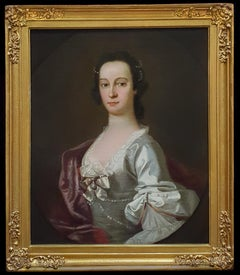 Portrait of a Lady in a silk dress with pearls