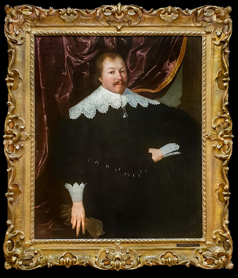 (Attributed to) Huygh Pietersz. Voskuyl  Portrait Painting - Portrait of a Gentleman holding a Pair of Gloves, Rare example of artist's work
