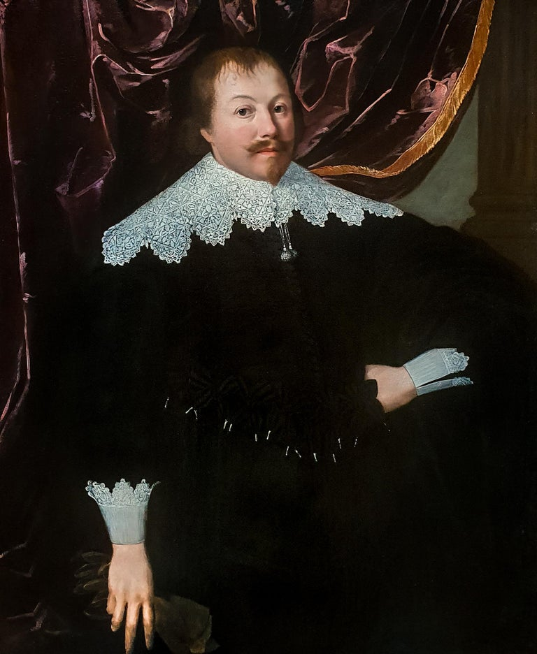 Portrait of a Gentleman holding a Pair of Gloves, Rare example of artist's work - Painting by (Attributed to) Huygh Pietersz. Voskuyl