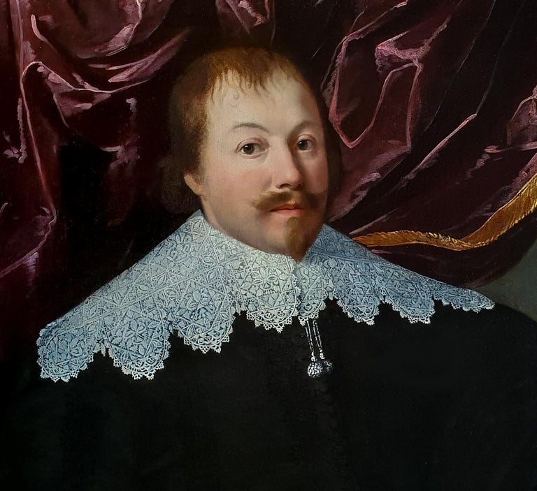 Portrait of a Gentleman holding a Pair of Gloves, Rare example of artist's work - Old Masters Painting by (Attributed to) Huygh Pietersz. Voskuyl