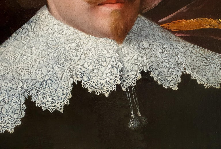 Portrait of a Gentleman holding a Pair of Gloves, Rare example of artist's work - Black Portrait Painting by (Attributed to) Huygh Pietersz. Voskuyl
