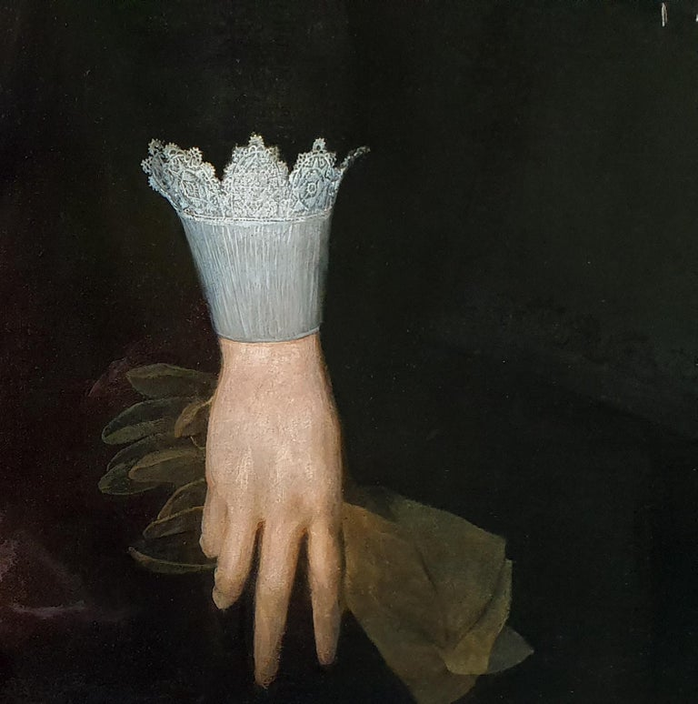 Portrait of a Gentleman holding a Pair of Gloves, Rare example of artist's work For Sale 1