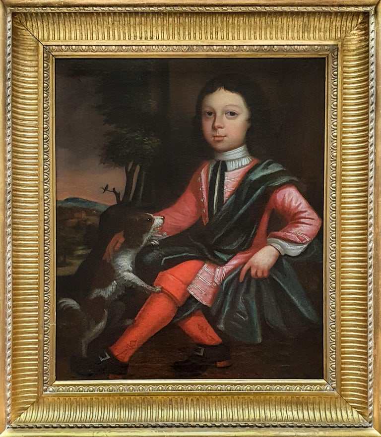 (Circle of) James Maubert Portrait Painting - Portrait of a Boy and his Dog, Fine Antique Frame