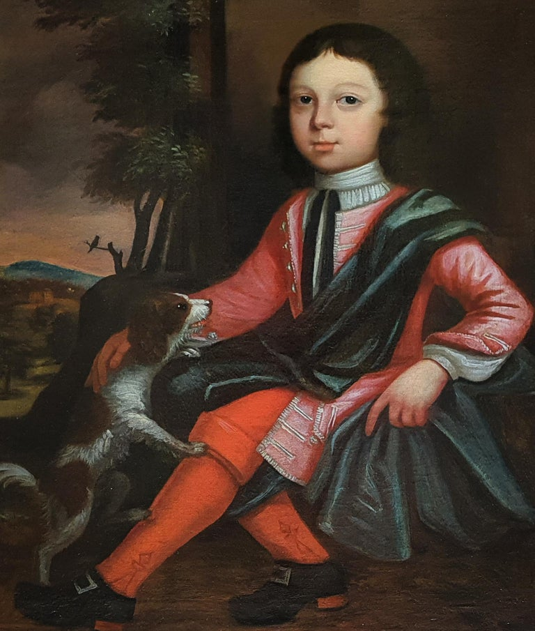 Portrait of a Boy and his Dog, Fine Antique Frame - Painting by (Circle of) James Maubert