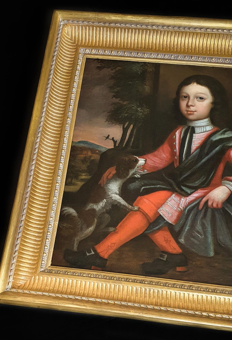 Portrait of a Boy and his Dog, Fine Antique Frame For Sale 2