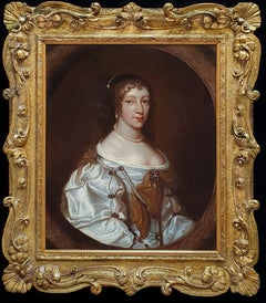 Portrait of a Lady in a Silk Dress and Pearls c.1660, Fine Quality Carved Frame