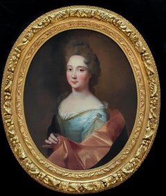 Portrait of a Lady in a Silver Dress and Pink Wrap, Antique Oil Painting