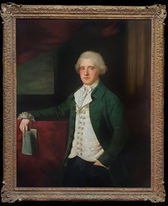 Portrait of a Gentleman in Frock Coat Holding a Book, Antique Oil Painting Large
