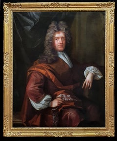 Portrait of a Seated Gentleman in Brown Robes, Antique Oil Painting