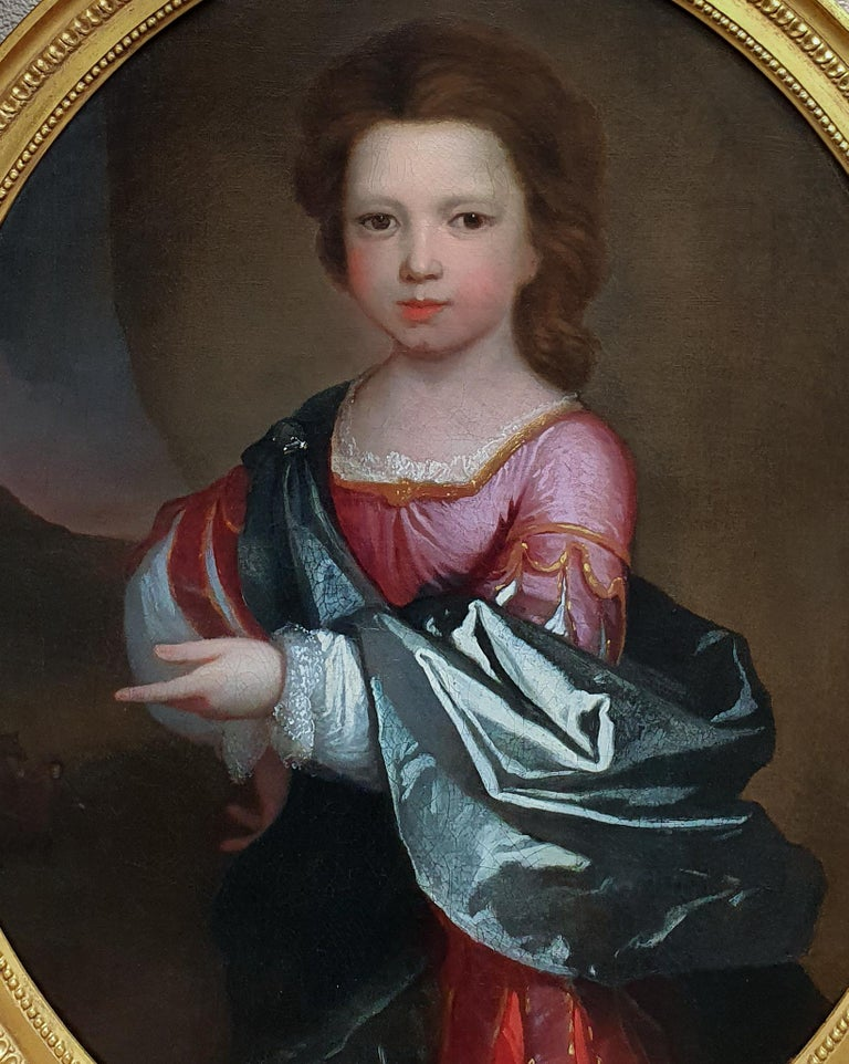PORTRAIT of a Young Girl in Roman Dress c.1695, Antique Oil Painting EDWARD BYNG - Black Portrait Painting by (Attributed to) Edward Byng