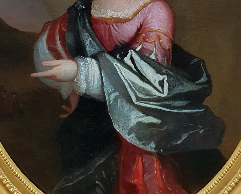 PORTRAIT of a Young Girl in Roman Dress c.1695, Antique Oil Painting EDWARD BYNG For Sale 1