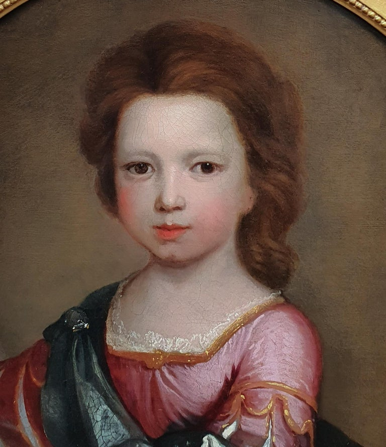 PORTRAIT of a Young Girl in Roman Dress c.1695, Antique Oil Painting EDWARD BYNG For Sale 2