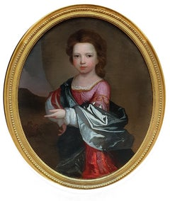 PORTRAIT of a Young Girl in Roman Dress c.1695, Antique Oil Painting EDWARD BYNG