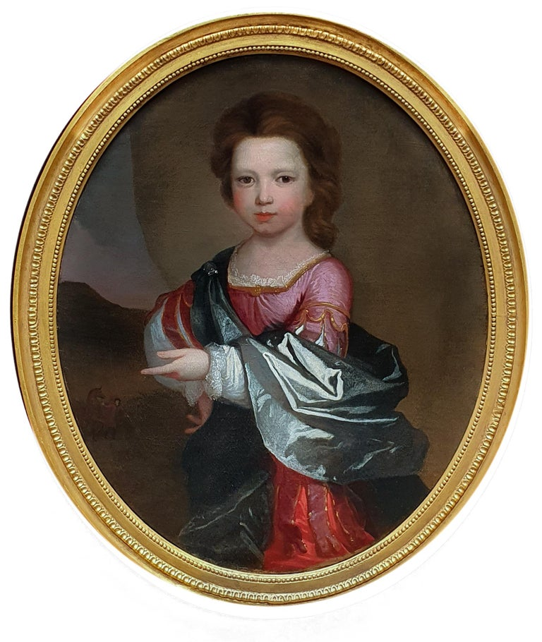 (Attributed to) Edward Byng Portrait Painting - PORTRAIT of a Young Girl in Roman Dress c.1695, Antique Oil Painting EDWARD BYNG