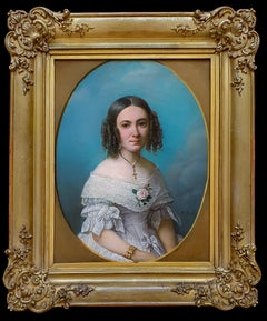 Portrait of a Young Lady in a White Dress 1840's, Antique Oil Painting on canvas