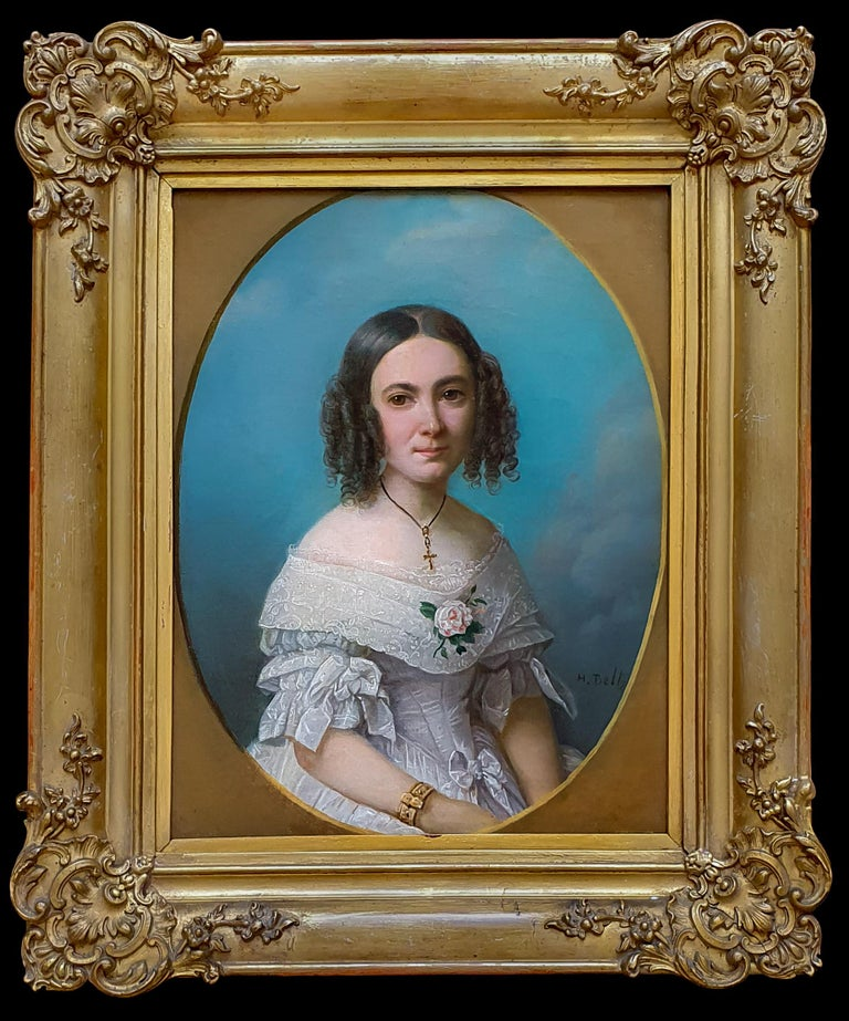 Portrait of a Young Lady in a White Dress 1840's, Antique Oil Painting on canvas - Brown Portrait Painting by Heinrich Beltz