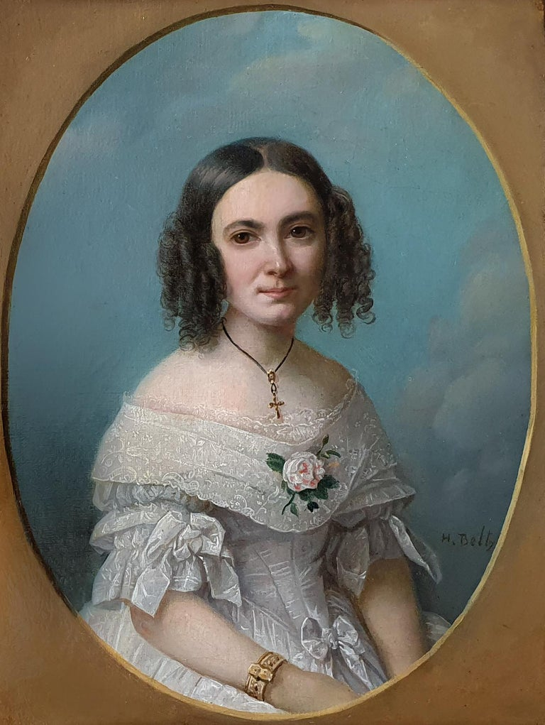 Heinrich Beltz Portrait Painting - Portrait of a Young Lady in a White Dress 1840's, Antique Oil Painting on canvas
