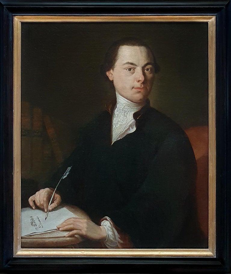 (Follower of) Anton Graff Portrait Painting - Portrait of a Gentleman Poet c.1760, Antique Oil Painting, Homer Virgil Gellert