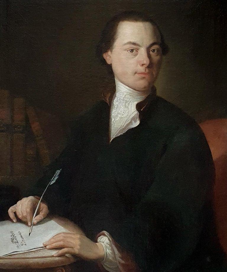 Portrait of a Gentleman Poet c.1760, Antique Oil Painting, Homer Virgil Gellert - Black Portrait Painting by (Follower of) Anton Graff