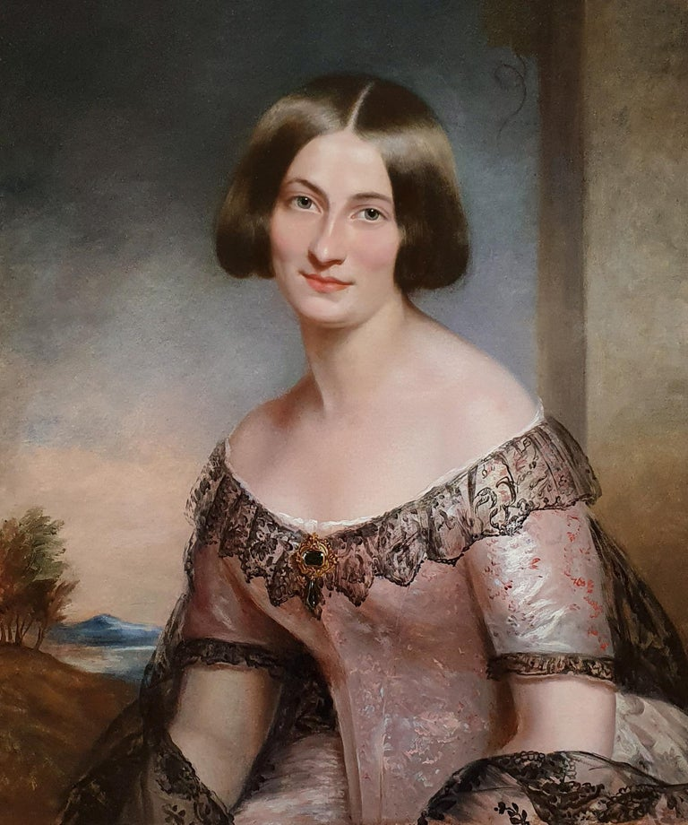 (Circle of) James Godsell Middleton Portrait Painting - Portrait of a Lady in Pink Dress c.1850, Antique Oil Painting
