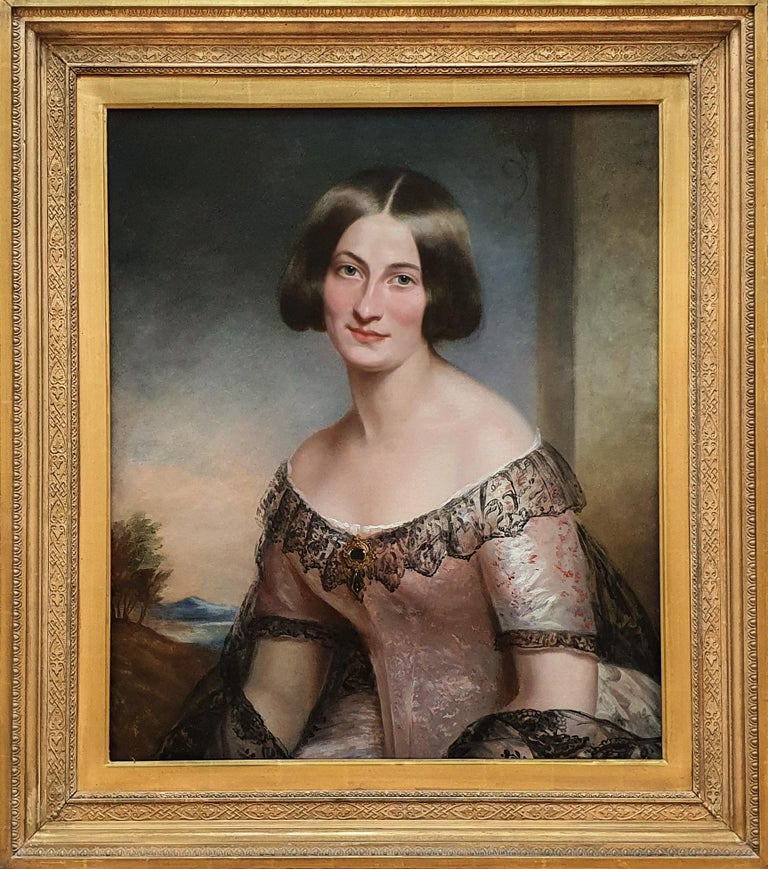 Portrait of a Lady in Pink Dress c.1850, Antique Oil Painting - Brown Portrait Painting by (Circle of) James Godsell Middleton