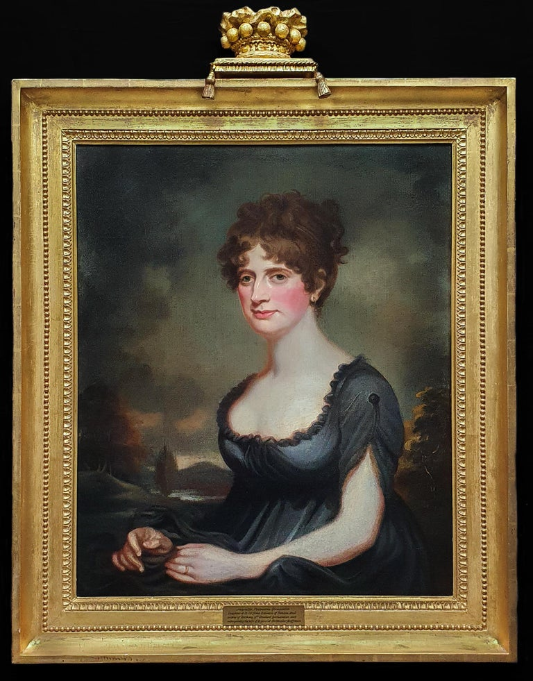 (Circle of) Sir William Beechey Portrait Painting - Portrait of Harriet Robinson (1787-1820) Antique Oil Painting