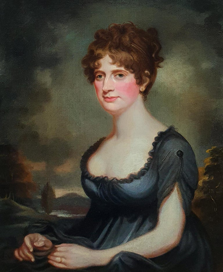 Portrait of Harriet Robinson (1787-1820) Antique Oil Painting - Black Portrait Painting by (Circle of) Sir William Beechey
