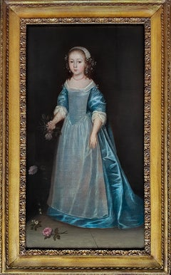 Portrait of a Young Girl in a Blue Dress, 17th Century, Antique Oil Painting
