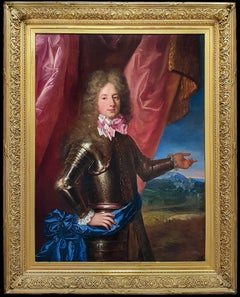 Portrait of a Young Nobleman in Armour 1690's, Antique Oil Painting