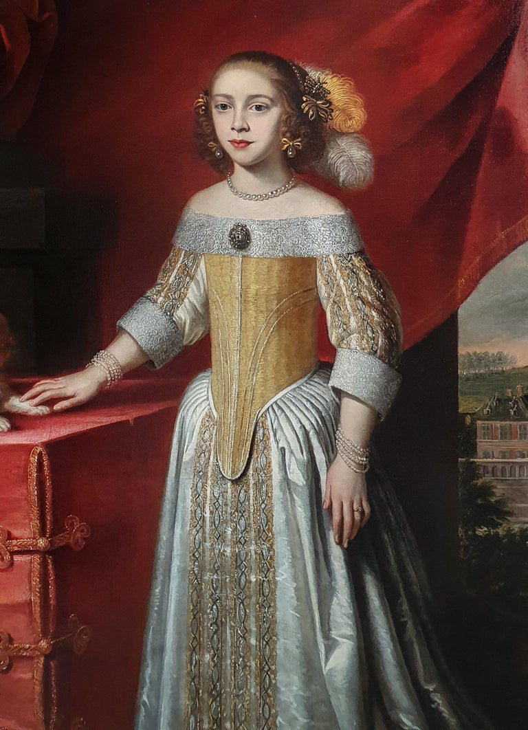 Portrait of a Young Lady in an Interior with a Pet Dog c.1650-60 Circle of Jan Weesop (fl 1640–1653)  This exquisite full-length portrait, painted circa 1650 to 1660, depicts a girl about twelve years old standing in an interior beside a table