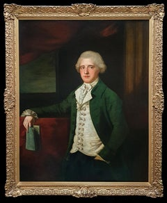 Portrait of a Gentleman Holding a Book c.1780, Antique Oil Painting