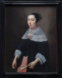 Portrait of a Lady Holding a Fan c.1656, Dutch Antique Oil Painting