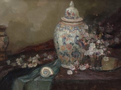 Still-life vase with peacock - Classic Art Oil Canvas Flowers Ornament Frame