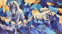 Two horses - expressionist multicolour animals big painting