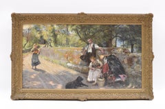 Resting Travelers - Classic Art Oil Canvas Realist German Artist Ornament Frame