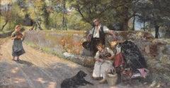 Resting Travelers - Classic Art Oil Canvas Realist German Artist Ornament Frame