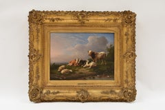 Cows and sheep near a brook - Classical Art Animal Oil Canvas Ornament Frame