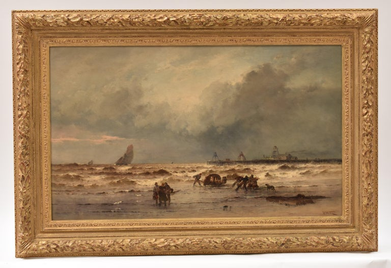 Coastal view with fisherman at rough weather - Classical Art Ornament Frame - Romantic Painting by Théodore Weber